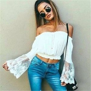 Sexy Off Shoulders Chiffon Lace Crop Top